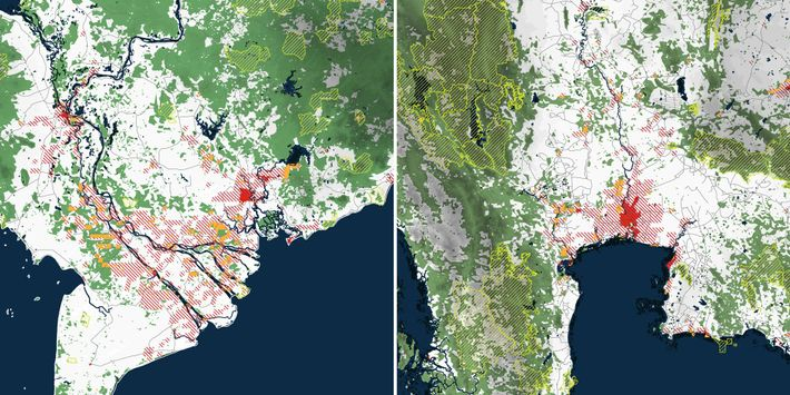 Karten des Atlas zeigen Prognosen für das Städtewachstum