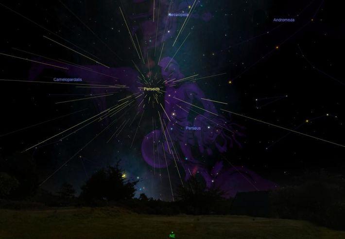 Die Perseiden scheinen aus ihrem namensgebenden Sternbild Perseus zu entspringen.