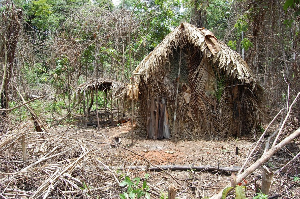 Eine der Hütten, die der Überlebende sich gebaut hat.