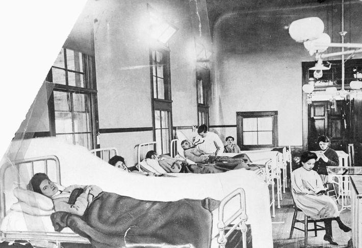 Mary Mallon (vorne) zeigte keine Symptome einer Typhuserkrankung, verbreitete die Krankheit jedoch bei ihrer Arbeit als ...