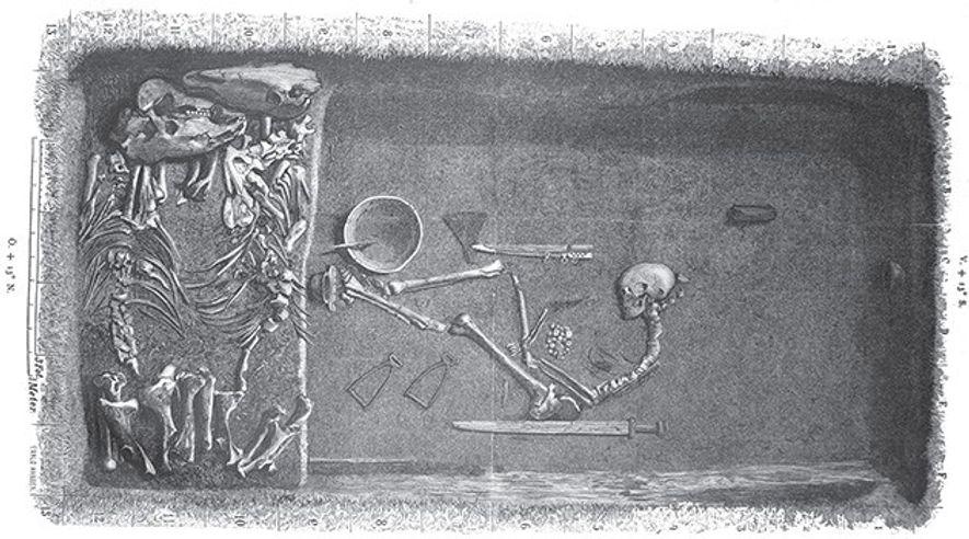Eine Illustration von Eval Hansen, die auf dem Originalplan des Grabes von Hjalmar Stolpe basiert und ...