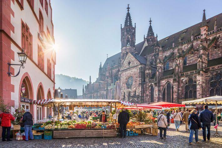 Die pulsierende Universitätsstadt Freiburg veranstaltet vor ihrem historischen Dom einen Wochenmarkt und gilt als Vorbild in Sachen ...
