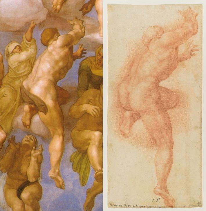 Links: Ausschnitt aus einem Fresko der Sixtinischen Kapelle von Michelangelo. Rechts: Eine Zeichnung aus dem 16. ...