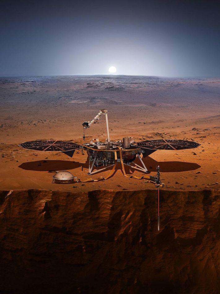 Diese Illustration zeigt den Mars-Lander InSight mit seinem Seismometer und seiner Temperatursonde.