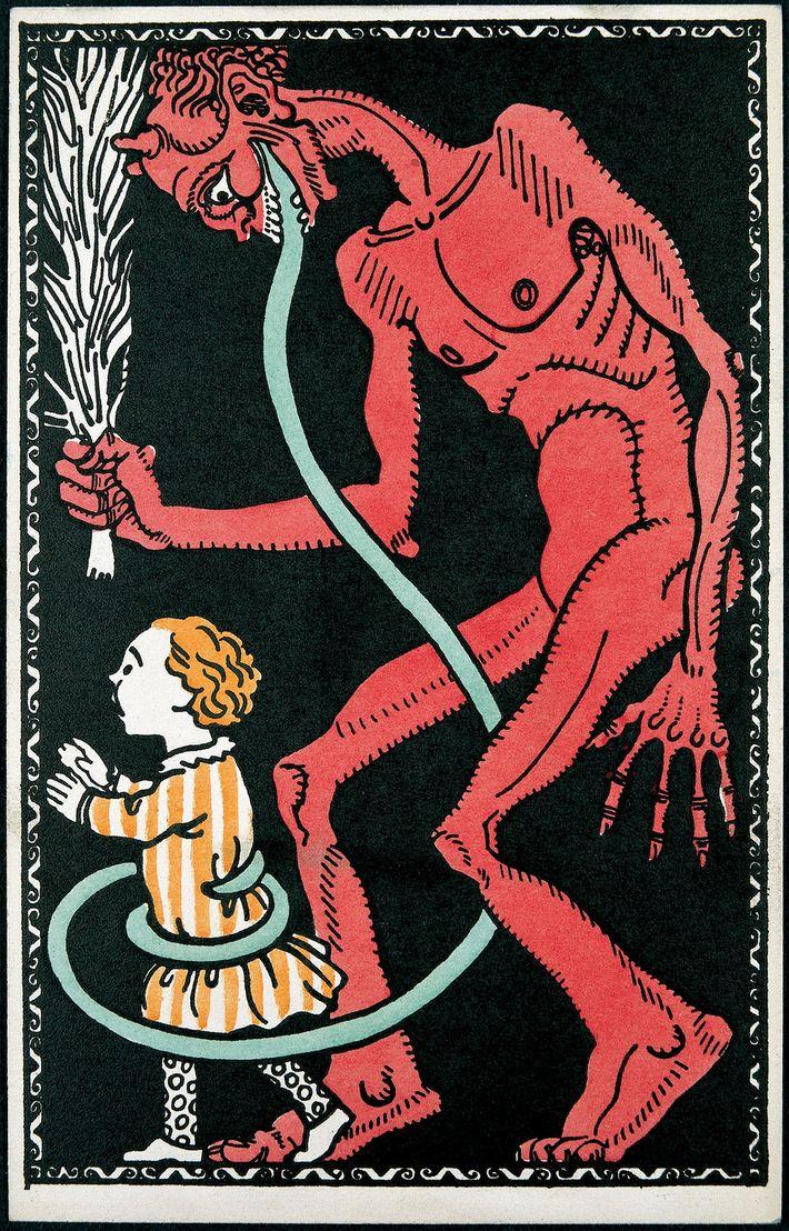 Der Krampus umschlingt auf dieser Wiener Karte von ungefähr 1911 ein Kind mit seiner charakteristischen langen ...