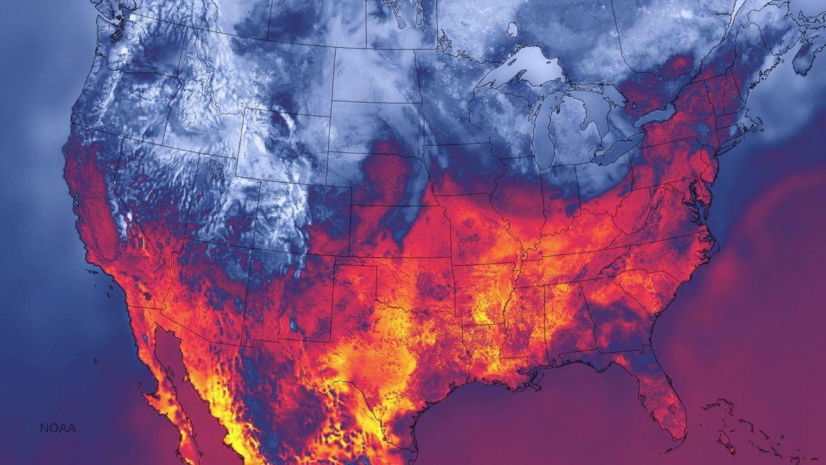 Dieses hochauflösende Wettermodell der NOAA zeigt die Oberflächentemperaturen der USA vom 30. September 2014. Eine Kaltfront ...