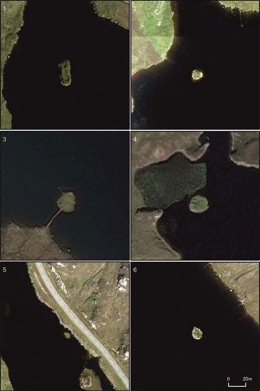 Luftbilder der künstlichen Inseln aus der Jungsteinzeit: 1) Arnish; 2) Bhorgastail; 3) Eilean Domhnuill; 4) Lochan ...