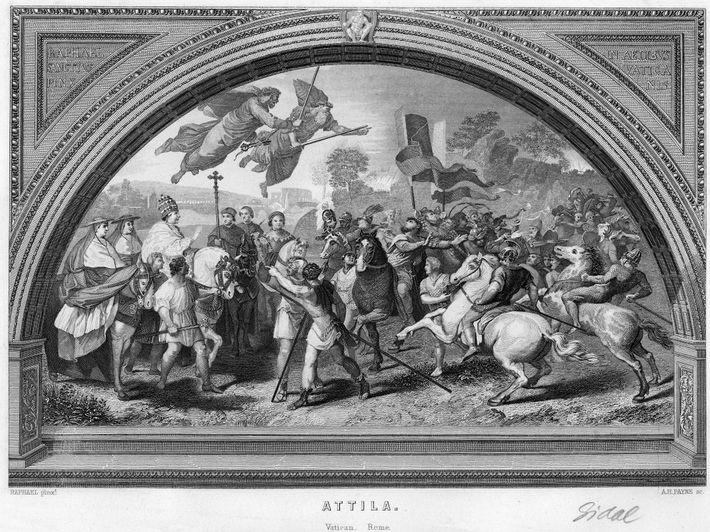 Kupferstich von Attila den Hunnenkönig bei einem Treffen mit Papst Leo I.