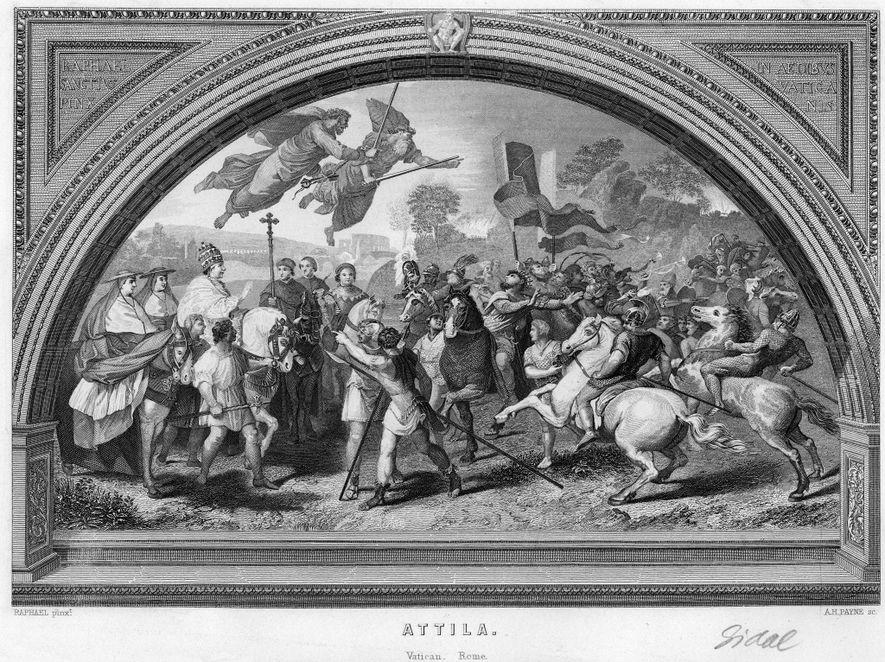 Dieser Kupferstich, der einem raffaelitischen Fresko aus dem 16. Jahrhundert nachempfunden ist, zeigt Attila den Hunnenkönig ...
