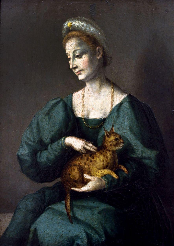 Eine Frau in einem italienischen Gemälde der Renaissance hält eine gefleckte Katze.