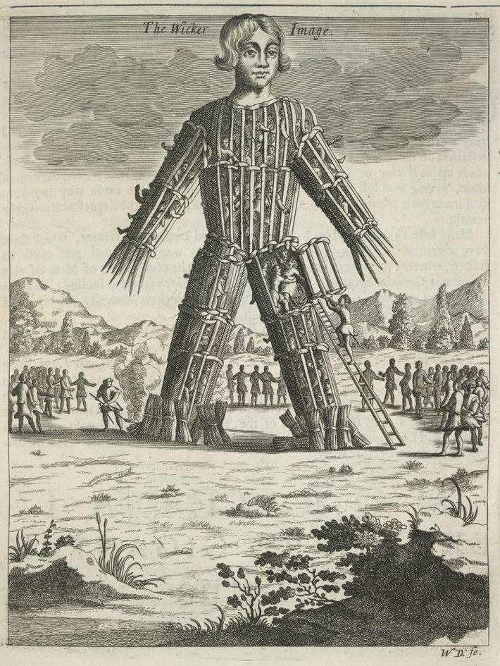 Eine Darstellung eines Wicker Man aus dem 17. Jahrhundert zeigt einen angeblichen keltischen Brauch, den Julius ...