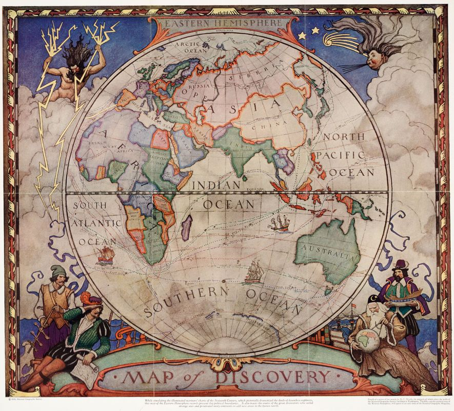 1928 ENTDECKERKARTE: Diese Karte von 1928 zeigt die damaligen politischen Grenzen, wurde aber im Stile alter ...