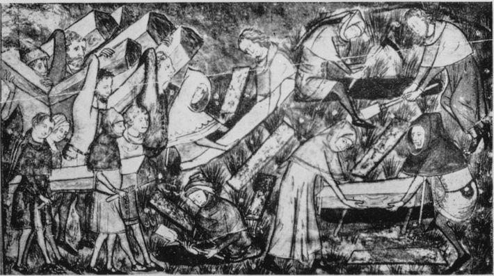 Eine Zeichnung aus dem 14. Jahrhundert zeigt die Bestattung von Pestopfern. Im deutschen Sprachraum gibt es ...
