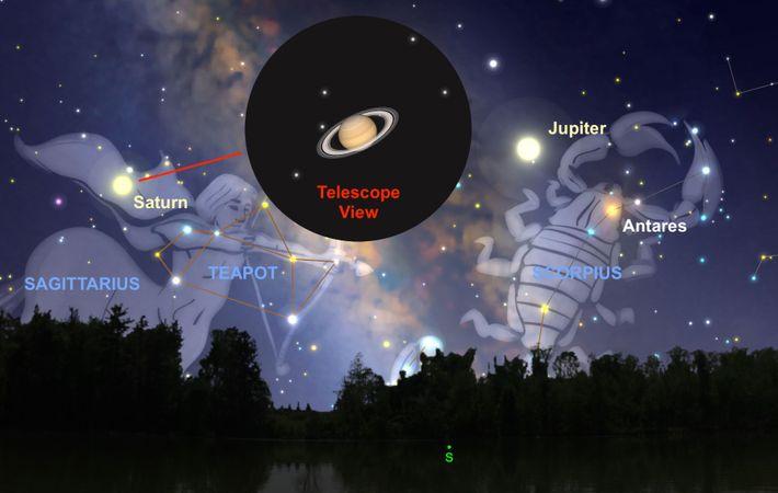 Der Saturn wird sich im Sternbild Schütze befinden, wenn er am 9. Juli seine Opposition erreicht.