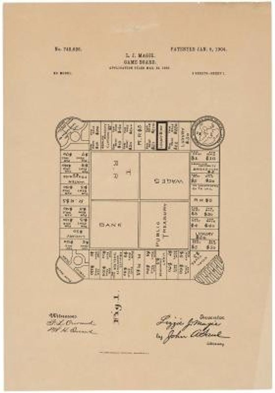 """Eine Zeichnung des Spielplans von Magies Brettspiel """"The Landlord's Game""""."""