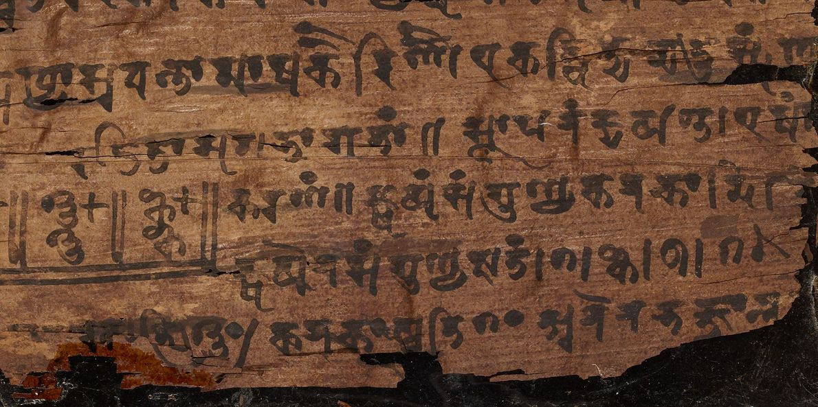In dieser Nahaufnahme von Folio 16v kann man die Null sehen, die in der untersten Zeile ...