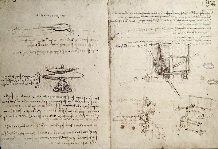 Leonardo da Vincis Notizbücher sind voller Skizzen von Erfindungen, darunter auch Flugmaschinen.