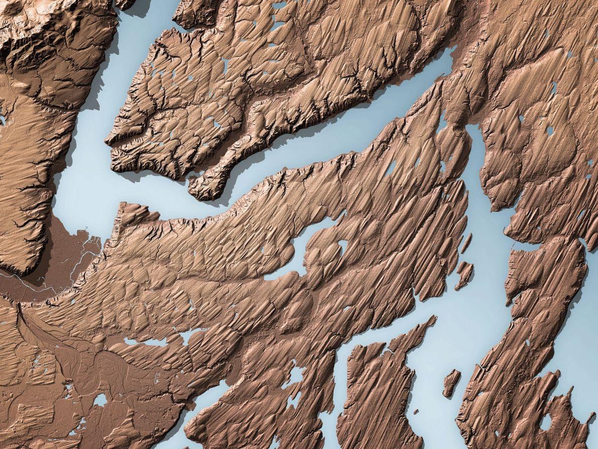 Ein Lidar-Scan zeigt die Landschaft um den Hood Canal, einem Fjord im Puget Sound. Gut erkennbar ...