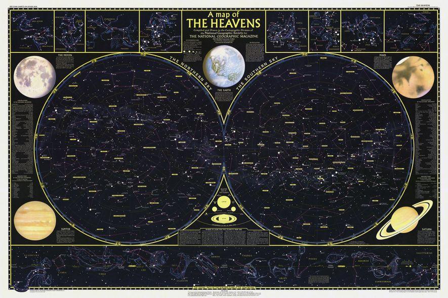 1957 HIMMELSKARTE: In der Dezemberausgabe von 1957 war ein Poster mit einer Himmelskarte enthalten. Sie zeigt ...