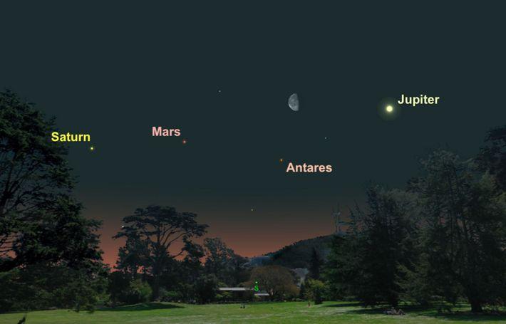 Drei Planeten werden mit dem Mond in einer Reihe stehen.