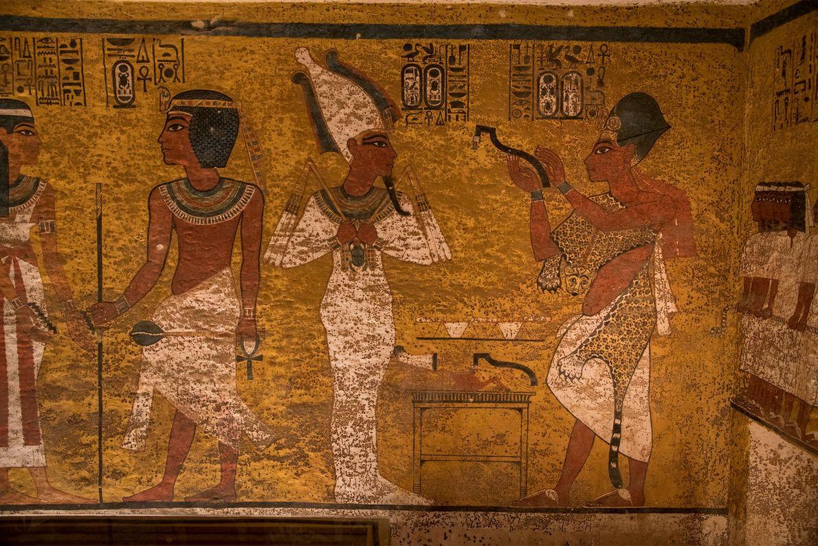 Unterschiede in der Maltechnik und Gestaltung der nördlichen Grabwand könnten ein Beweis für die nachträgliche Modifikation ...