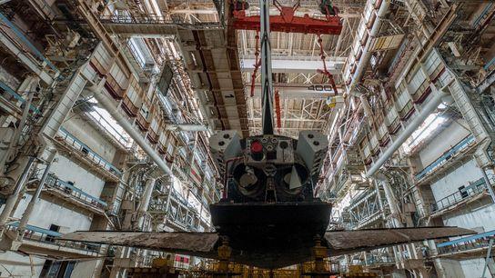 Bild einer russischen Raumfähre von hinten