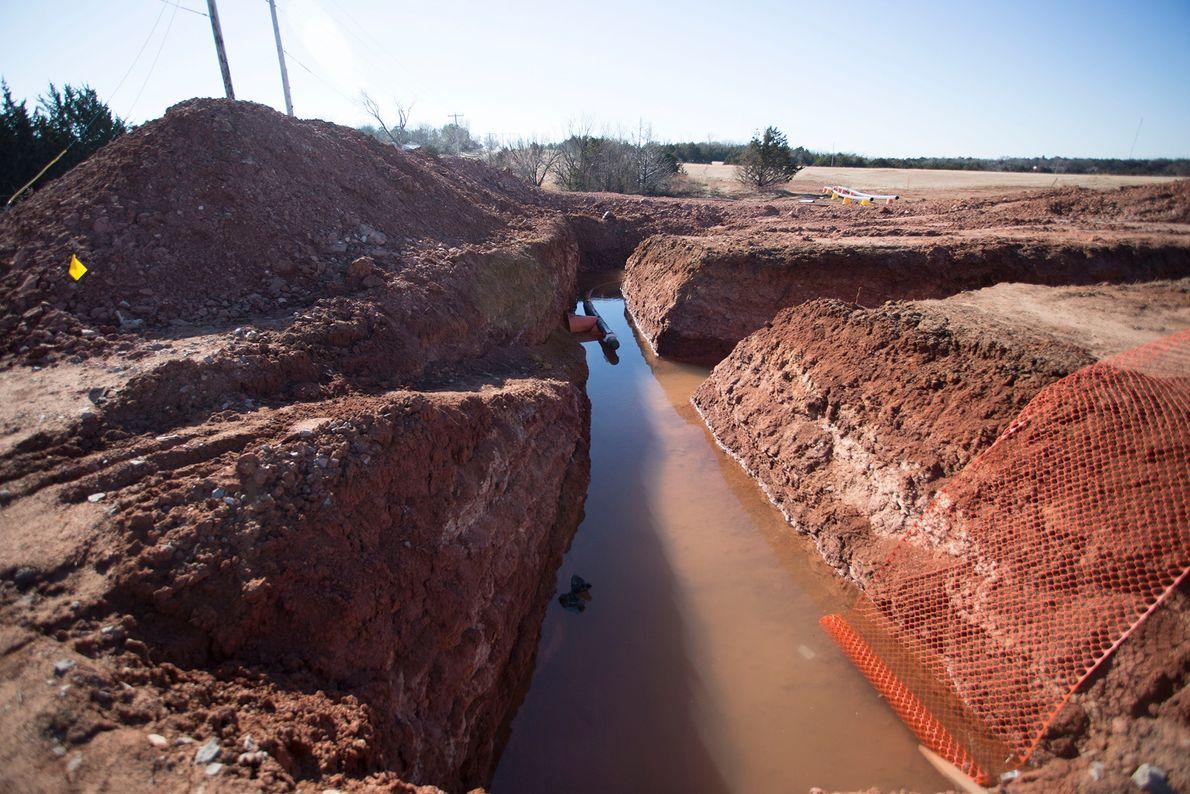 Graben für eine Pipeline