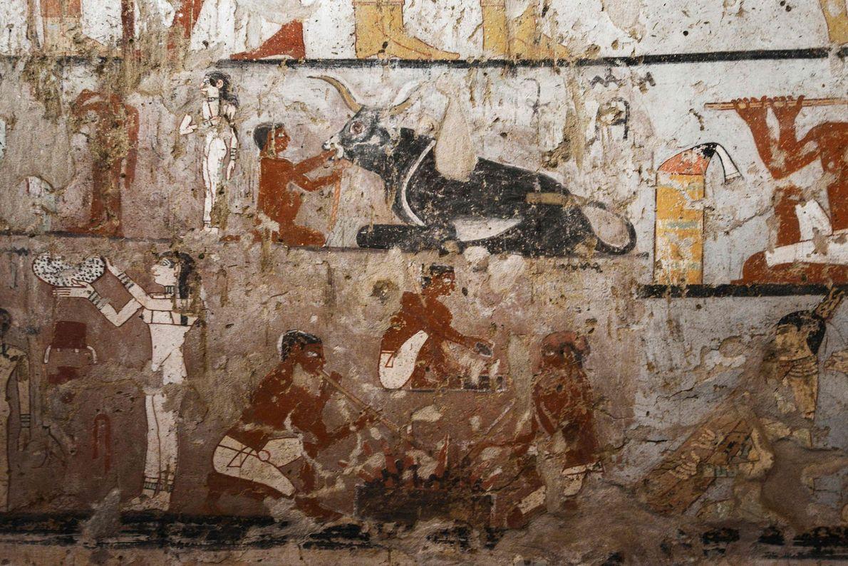 Ein Rundumblick zeigt gut erhaltene und seltene Wandmalereien im Inneren des Grabes einer Priesterin des Alten ...