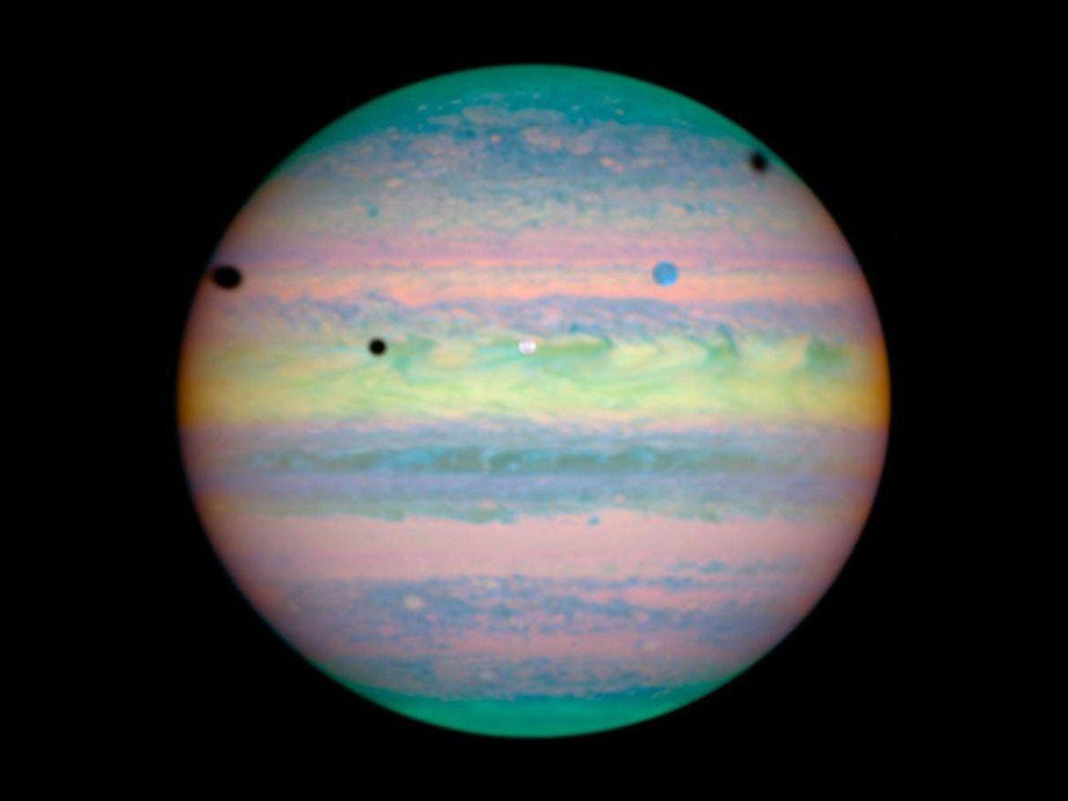 Die Monde Io, Ganymed und Kallisto vorm Jupiter