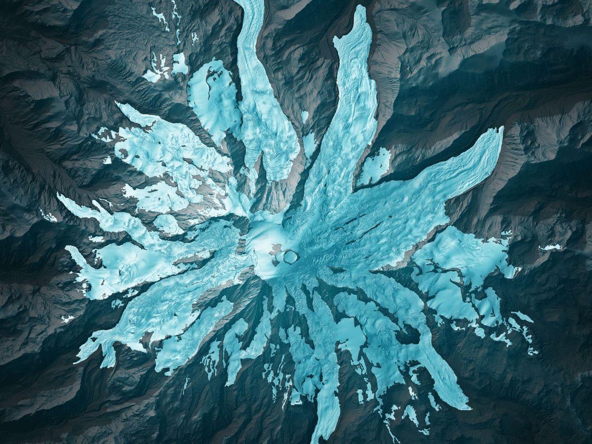 Lidar-Scans offenbaren die exakten Ausmaße von Gletschern auf dem Mount Rainier in Washington, die sich auf ...