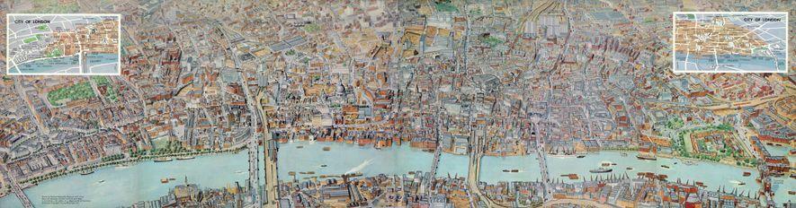 1961 LONDON-PANORAMA: Sieben National Geographic-Künstler waren nötig, um die einzelnen Gebäude dieser sechsseitigen, ausfaltbaren Karte von ...