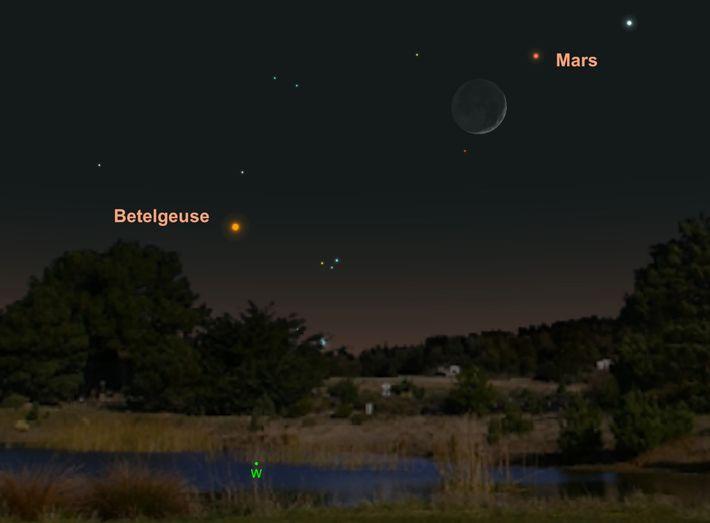 Am 7. Mai wird sich der rote Mars am Nachthimmel zum Mond gesellen.