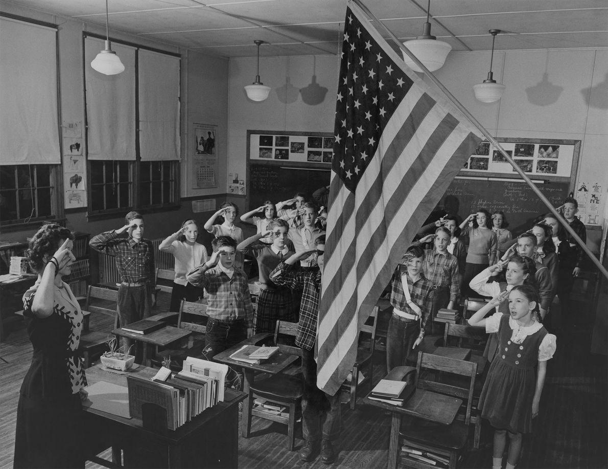 In einem Klassenzimmer der Charles Barrett Elementary School in Alexandria im US-Bundesstaat Virginia starten die Schüler ...