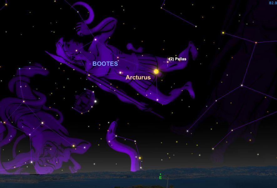Der große Asteroid (2) Pallas wird am 9. April seine größte scheinbare Helligkeit erreichen.