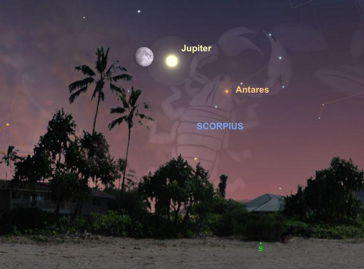 Am 13. Juli stehen der Jupiter und der Mond besonders nah beieinander.
