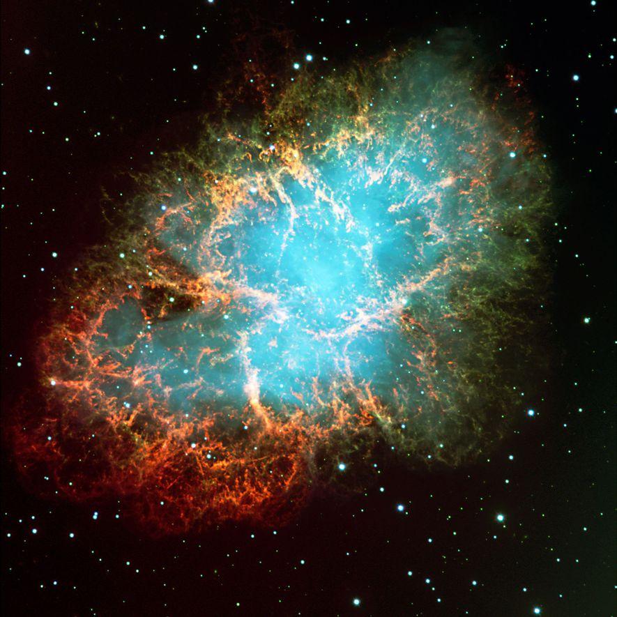 Dieses Farbkomposit zeigt den Krebsnebel, der frühe Beobachter an ein vielbeiniges Krebstier erinnerte.