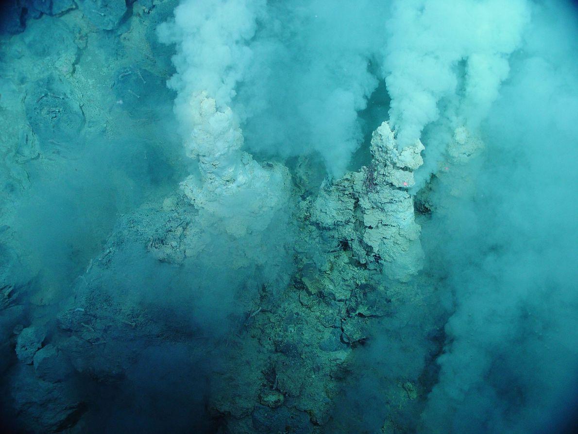 Ein kleiner Schwefel-Schlot spuckt im Westpazifik weißes Wasser, das wie Rauch aussieht. Die Region wird Chamgagne ...