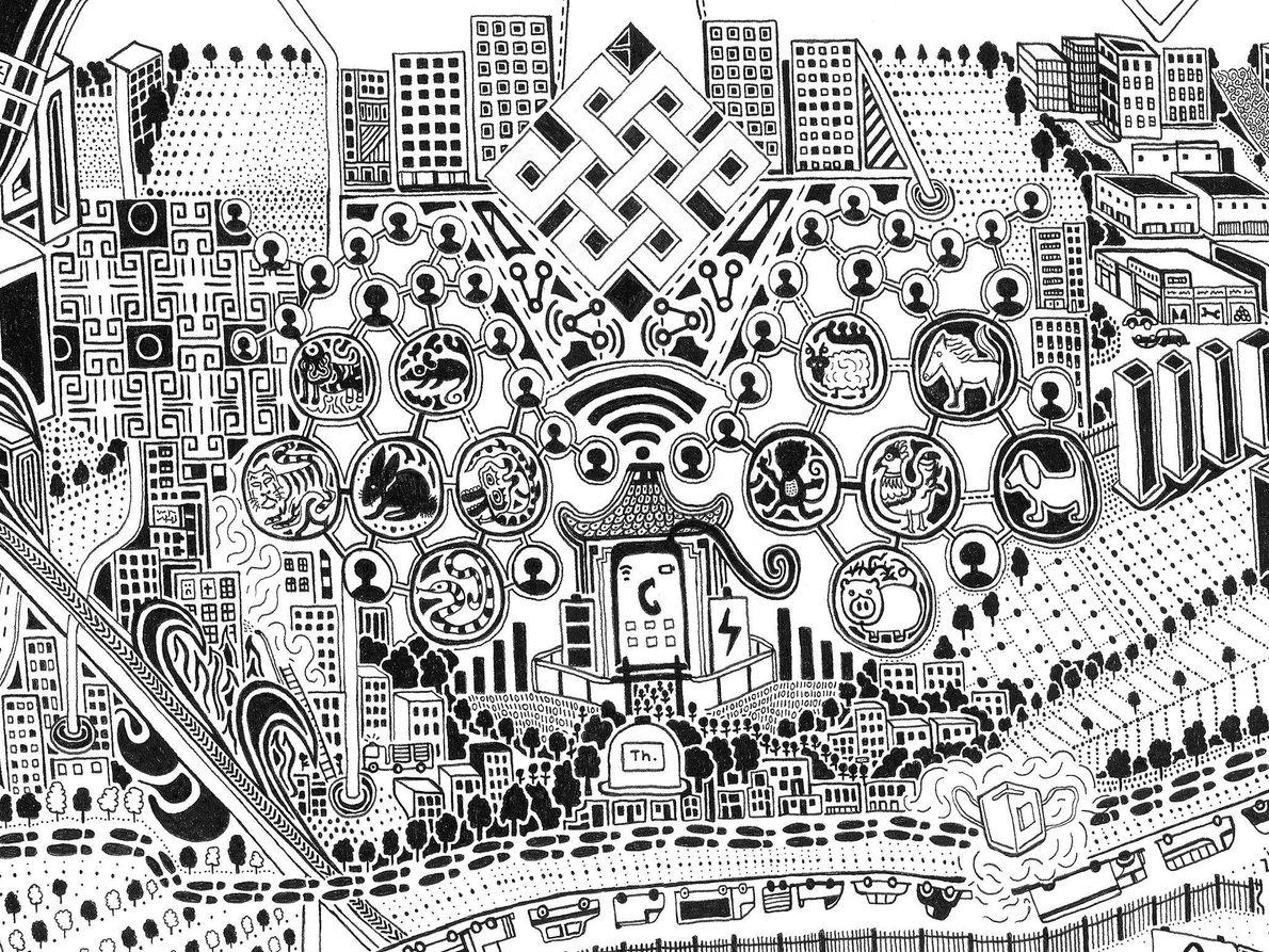 Altertum und Moderne verschmelzen in diesem Kartenausschnitt. Der Ewige Knoten, ein altes, buddhistisches Symbol (oben Mitte) ...
