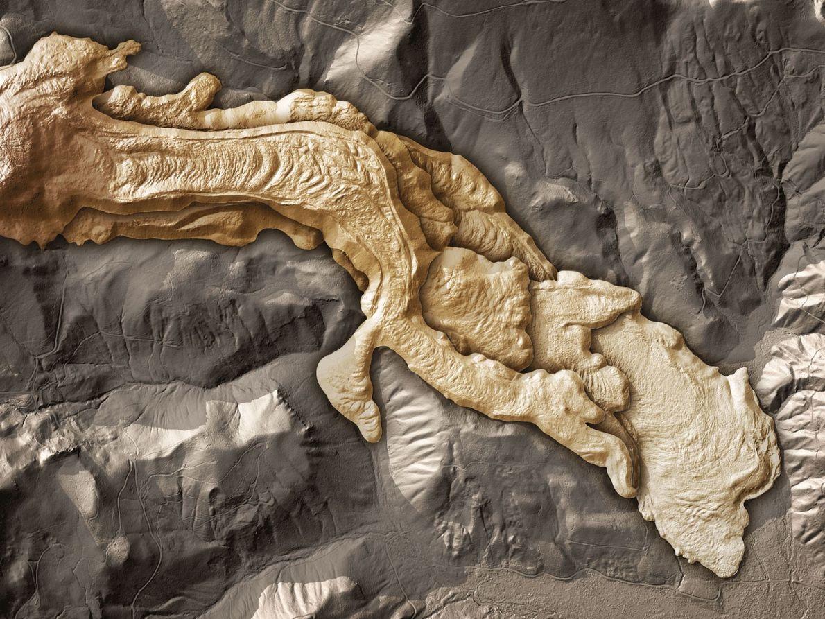 Auf diesem Lidar-Scan sind alte Lavaströme vom West Crater der Kaskadenkette erkennbar.