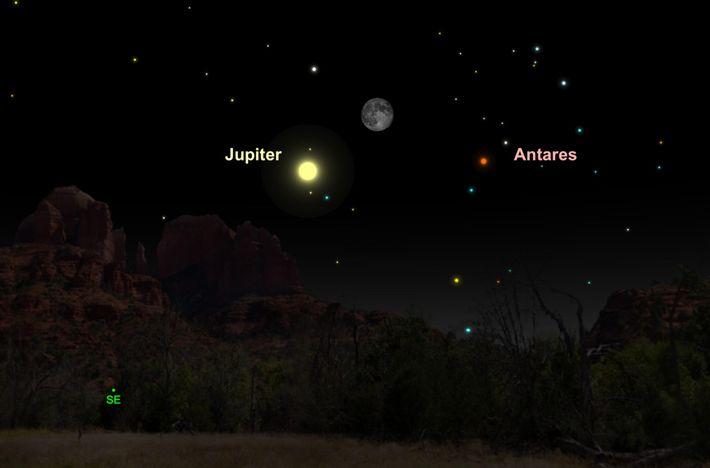 Der strahlende Jupiter und der leuchtende Mond bilden im Mai ein himmlisches Paar.