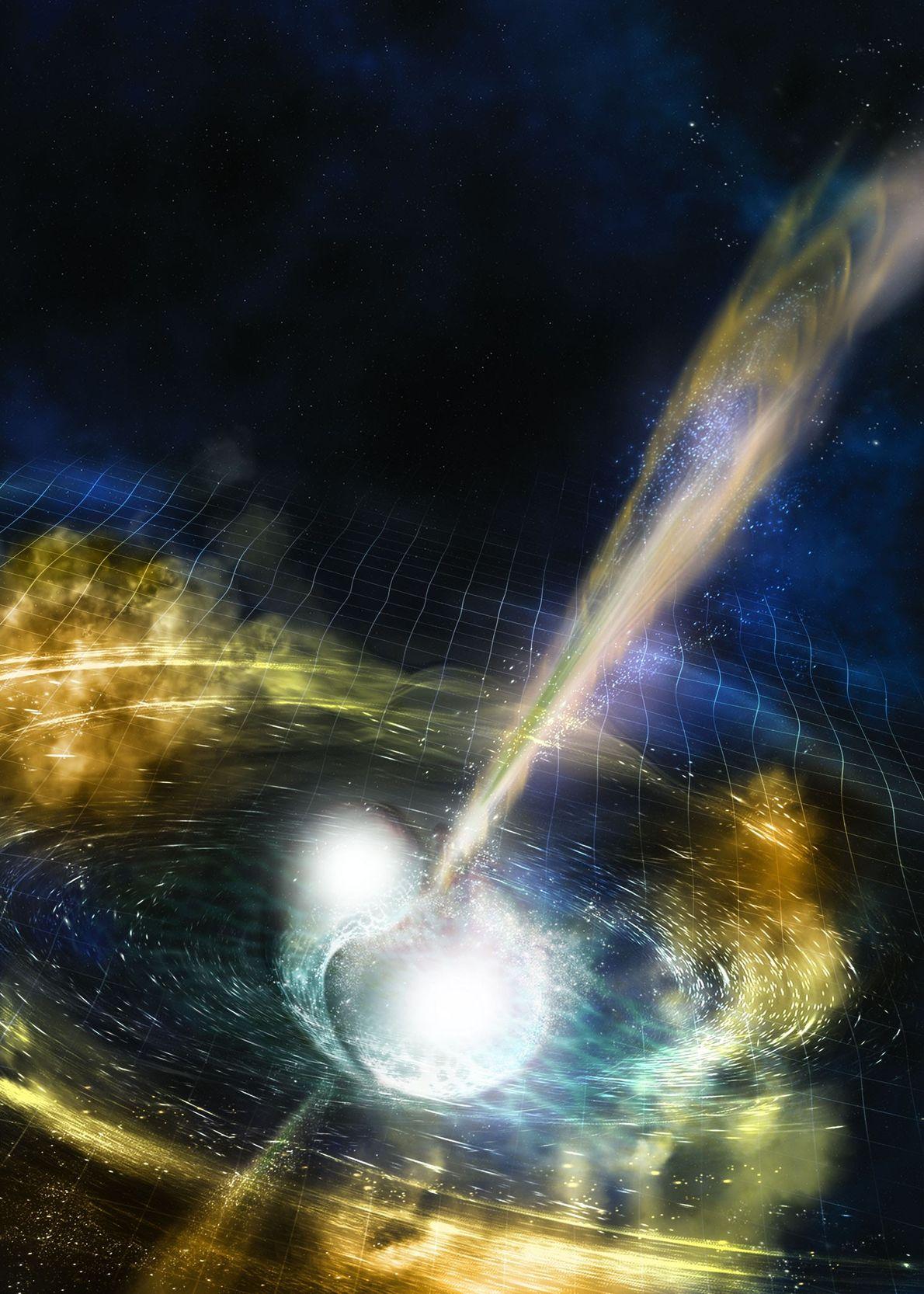 Die Oberfläche der Raumzeit krümmt sich, wenn zwei Neutronensterne sich bis zur Kollision umkreisen.