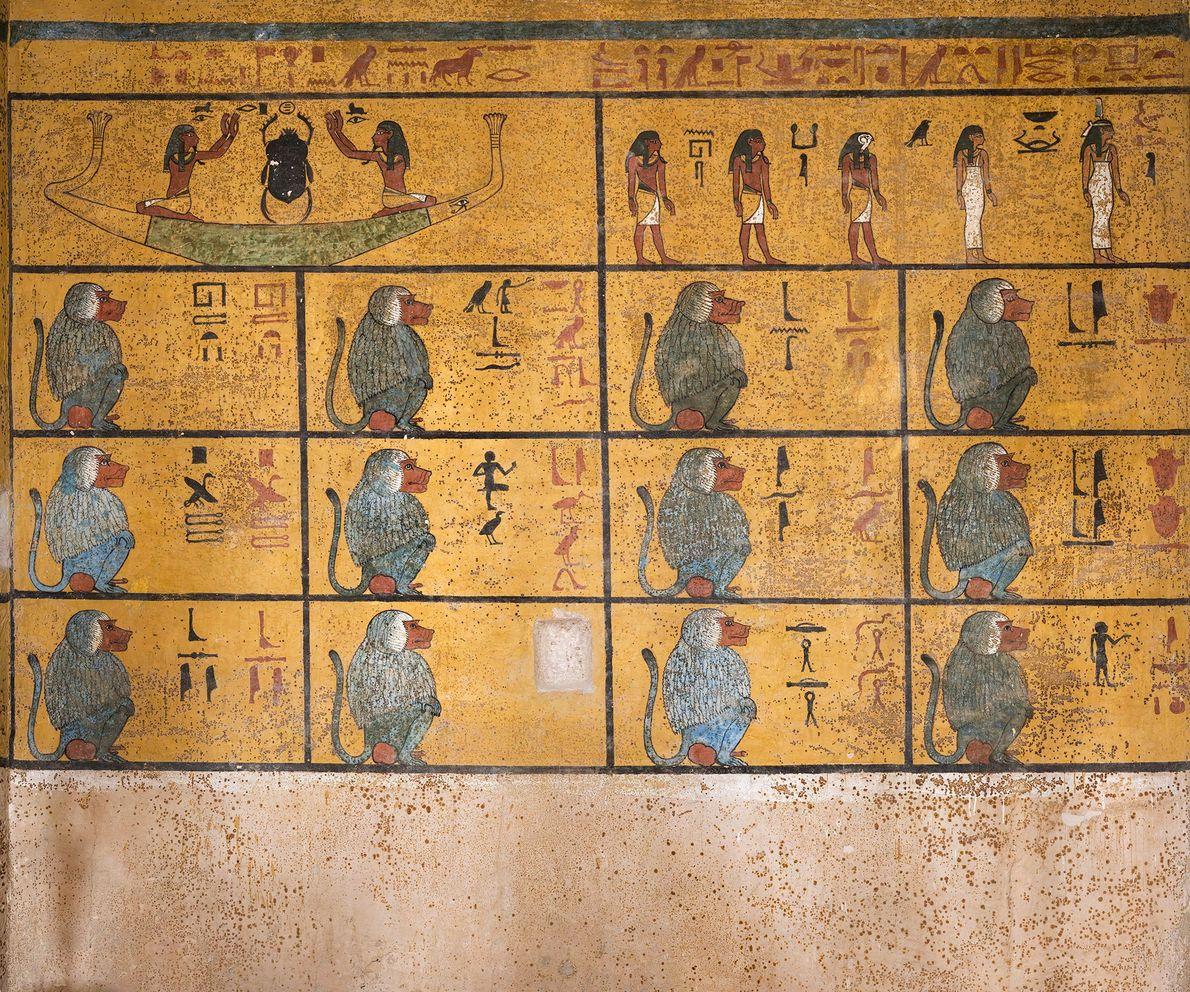 """An der Westwand der Grabkammer wurde ein Ausschnitt des Amudat verewigt. """"Das Buch von dem, was ..."""
