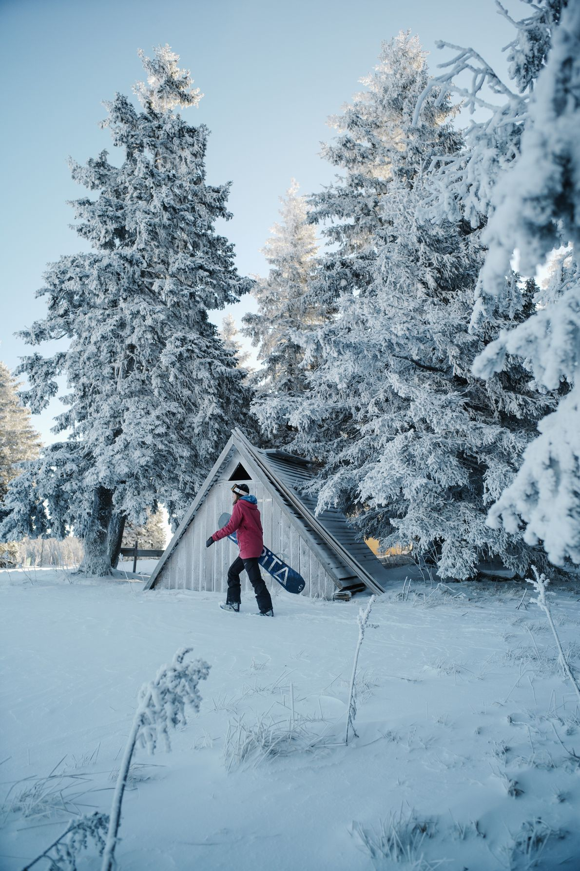Auf der Suche nach neuen Pisten stapft die professionelle Snowboarderin Vesna Kajzer durch die schneebedeckte Wildnis ...