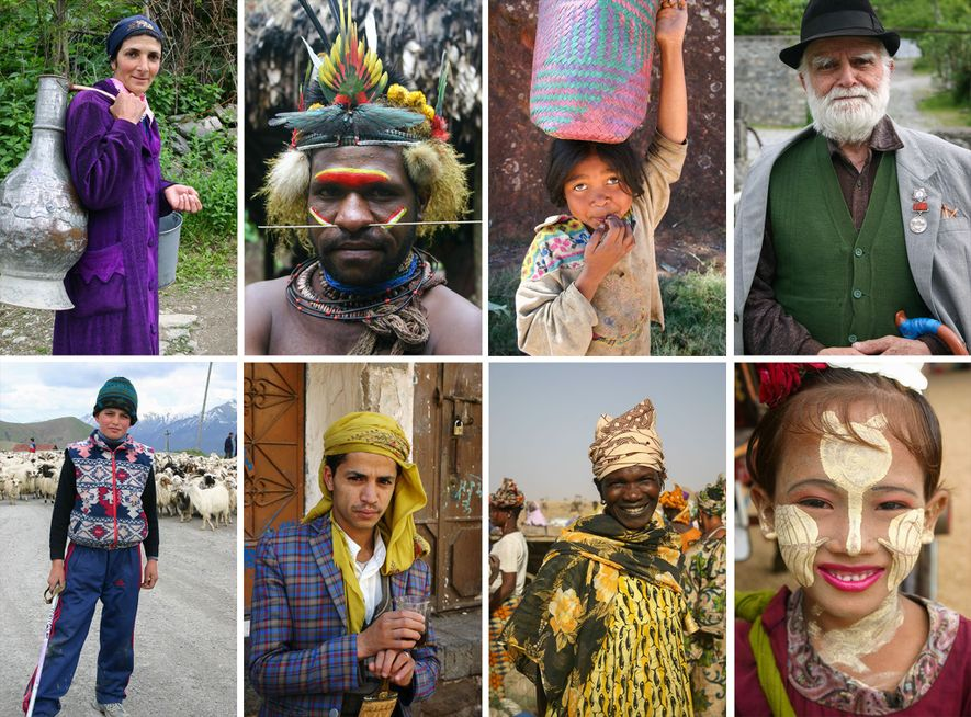 Diese Portraits nahm Podell auf seinen Weltreisen auf. Sie zeigen Menschen aus (im Uhrzeigersinn von oben links) Aserbaidschan, Neuguinea, Osttimor, Georgien, Georgien, dem Jemen, Ghana und Myanmar (Burma).