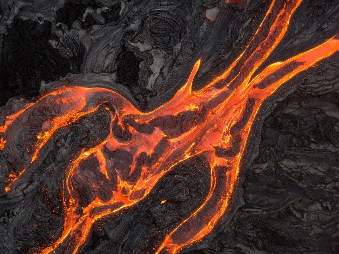 Luftaufnahmen der Lavaströme des Kīlauea.