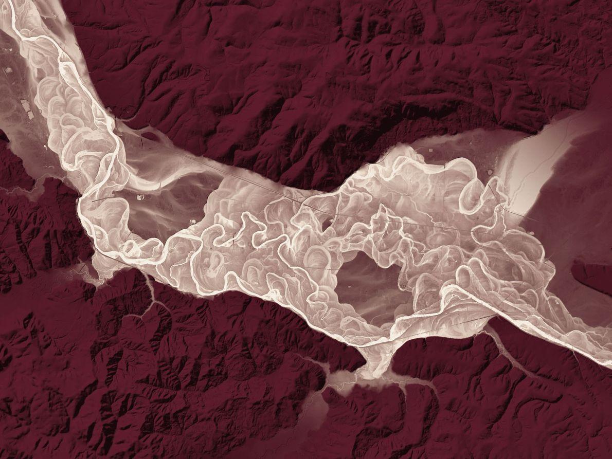 Die Überschwemmungsebene und die alten, trockenen Flussbetten des Chehalis im Westen von Washington sind auf diesem ...