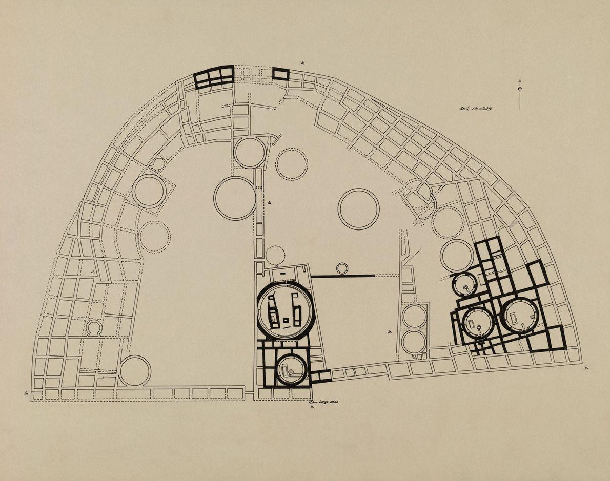 Ein Plan von Pueblo Bonito mit den Bereichen, die von der Expedition ausgegraben wurden.