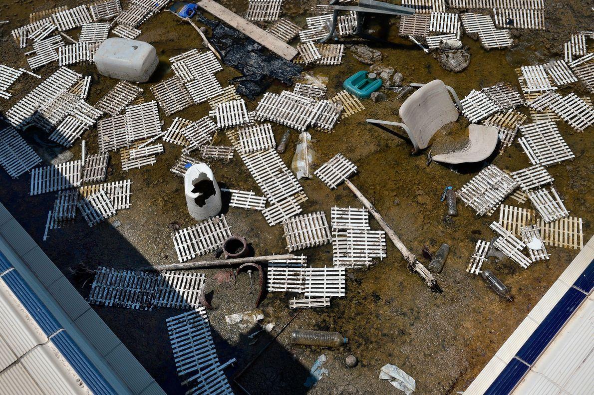 Blick in ein Schwimmbecken des ehemaligen Olympischen Dorfes in Athen im Juli 2014. 2004 fand die ...
