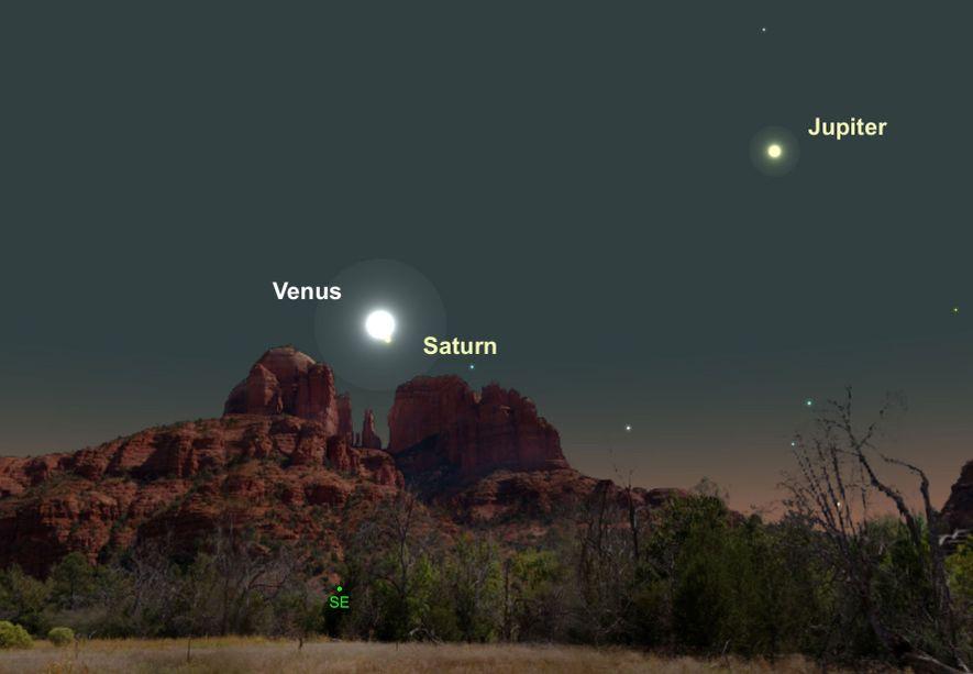 Zwei der hellsten Planeten, Venus und Saturn, stehen am 18. Februar besonders nah beieinander.