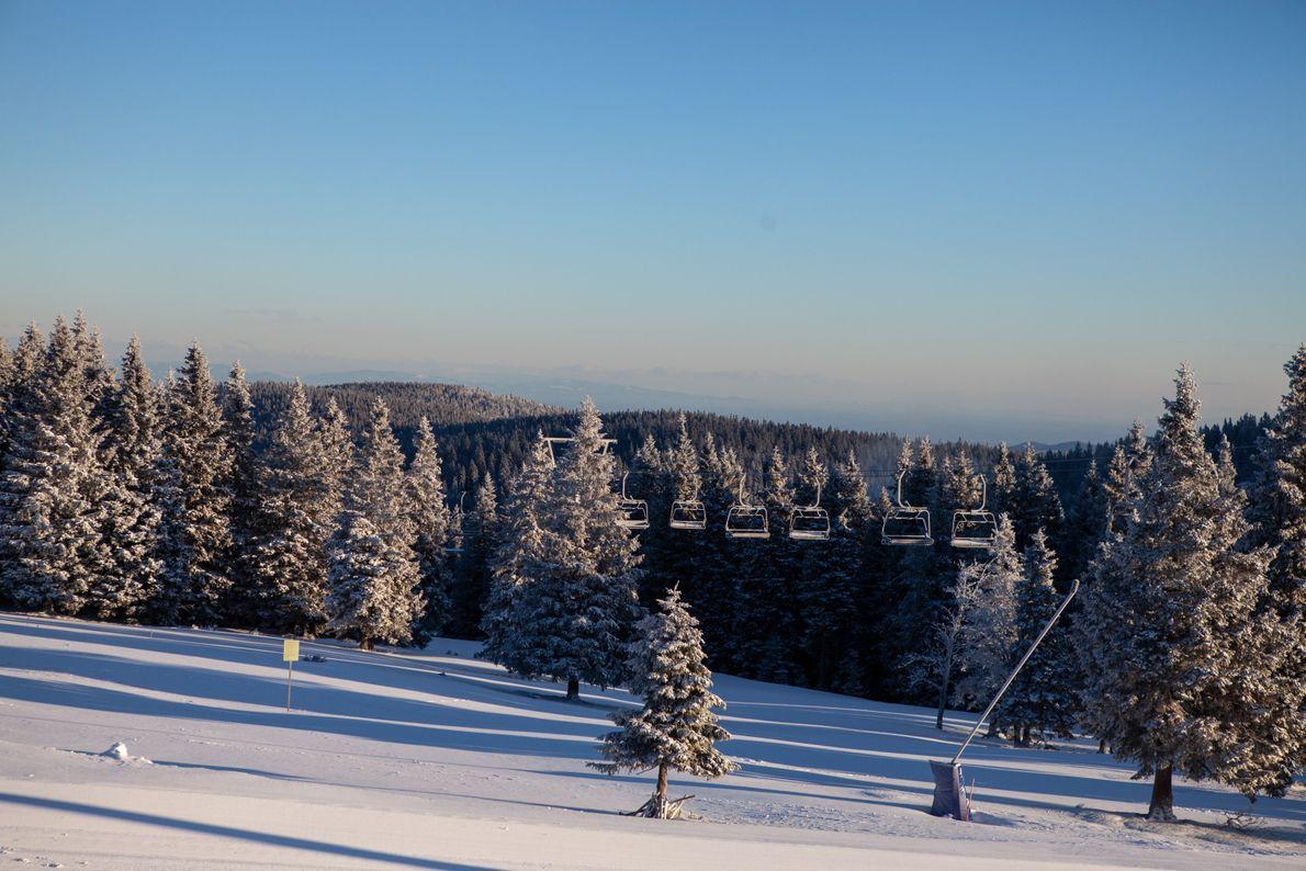 Ein weiterer, wundervoller Tag bricht an. Die Morgensonne enthüllt den Schneefall der letzten Nacht im Skigebiet ...
